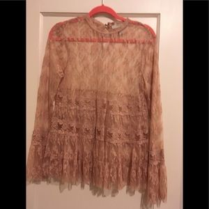 Forever 21 shear lace boho chic blouse